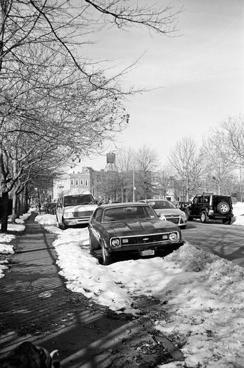 Lorimer St, Brooklyn, January 2016 Tranquil Scene Cold Temperature Contax Contaxt3 Neopan Neopan Acros 35mm Film Film Photography Streetphoto_bw Street Photography Streetphotography Williamsburg, Brooklyn  Greenpoint Brooklyn NYC Vintage Car Snow