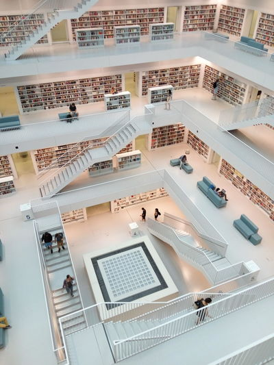 Bookshelfs Stuttgart Airy Architecture Architecture Built Structure Day German Library High Angle View Indoors  Library Building Modern Library No People