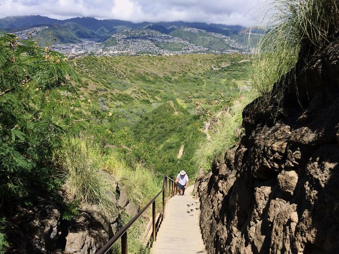 long way down Mountain Adventure Nature Beauty In Nature Scenics Landscape Real People Day Outdoors Rear View Motion Hiking One Person Mountain Range Lifestyles Full Length Vacations