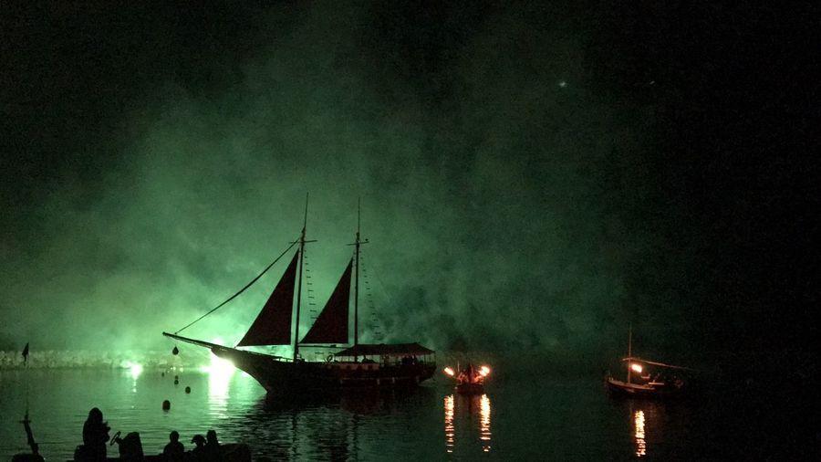 Smoky Beach Nightphotography Pirates Pirate Ship Pirate Attack Estartit Illes Medes Fireworks Fireworksphotography Fire And Flames Shots Nature First Eyeem Photo