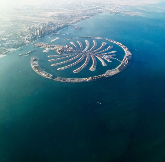 Aerial view of palm jumeirah and sea