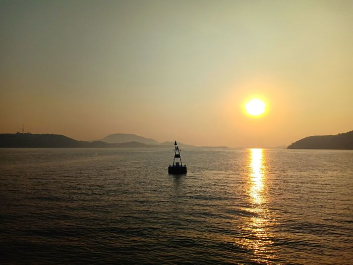 Water Nautical Vessel Sea Sunset Fisherman Sun Silhouette Clear Sky Sunlight Gold Colored