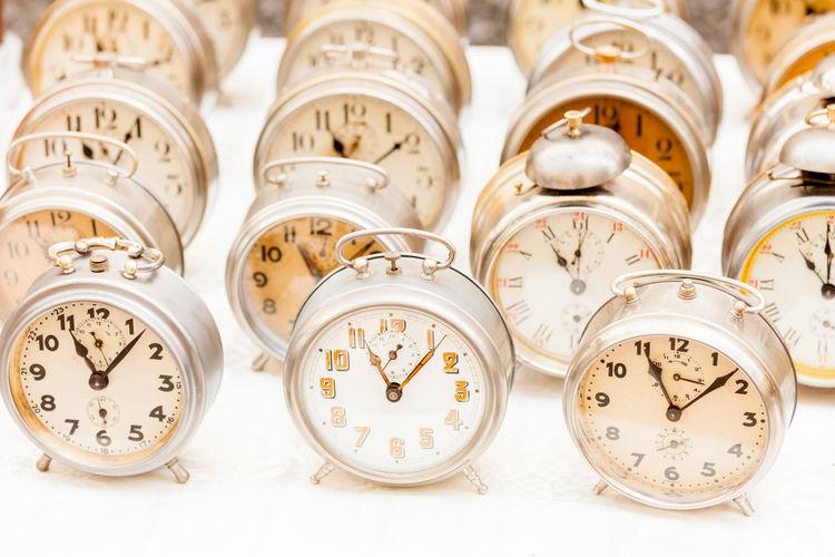 High angle view of alarm clocks for sale