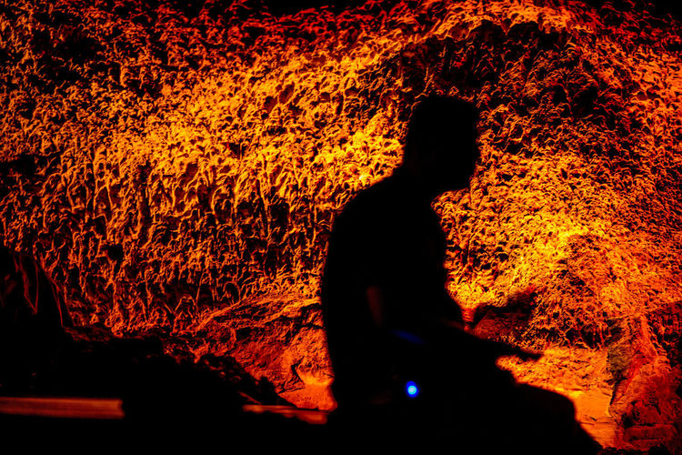 Cave Orange Color Underground Cave Fire Fire - Natural Phenomenon Nature One Person Men Heat - Temperature 17.62°