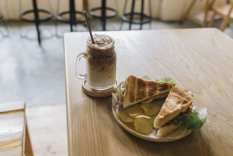 Coffee Iced Coffee Sandwich Snack Cafe Focus On Foreground Food Food And Drink Indoors  No People Ready-to-eat Table
