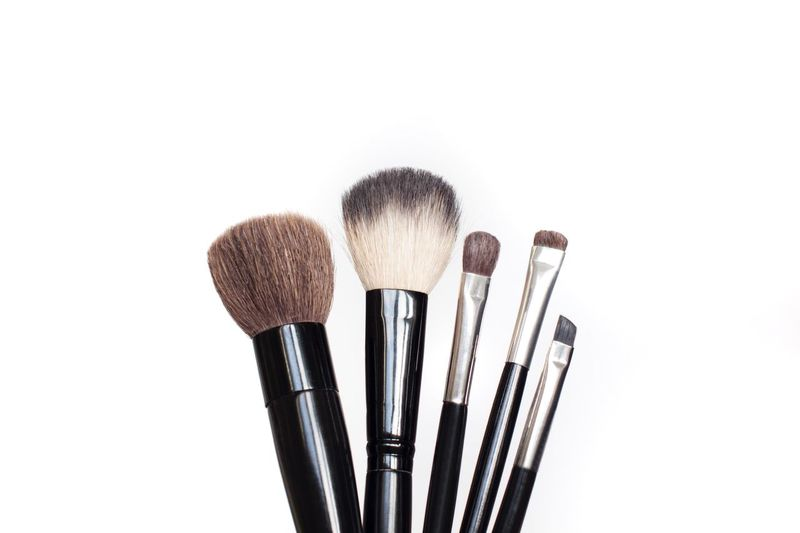 makeup brushes on white background Brushes Makeupartist Cosmetics Fashion Copy Space White Background Beauty Product Fashion Make-up Brush Make-up Studio Shot White Background Close-up Copy Space Beauty Cut Out Paintbrush Brush