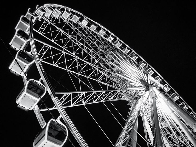 Don't reinvent the wheel but keep the momentum of the wheel. Ferris Wheel Wheel Thailand Bangkok Asiatique The Riverfront Low Angle View Night Blackandwhite Photography Blackandwhite Black & White Black And White Big Wheel Clear Sky Illuminated No People Outdoors Amusement Park Ride Takenbyiphone Lines Life Investing In Quality Of Life The Week On EyeEm