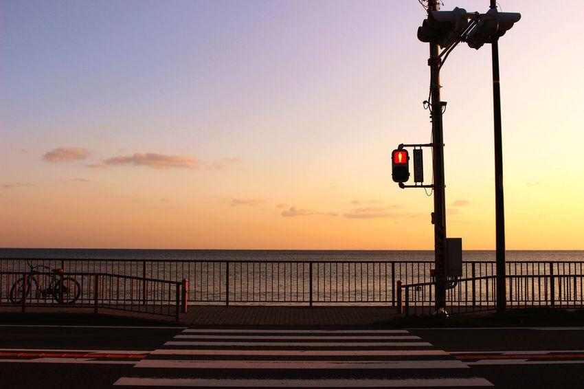 Japan Enoshima Inamuragasaki Sunset Sea Enoden