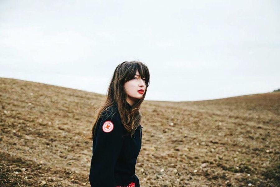 Women Portraits Women Portrait In The Field Field Nature Hills Long Hair Red Lips