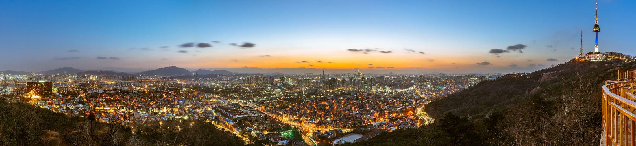 남산에서 바라본 서울 야경 Seoul City Night Landscape Night View Nightscape with Sony A7R and Canon EF16-35mmF4LIS USM