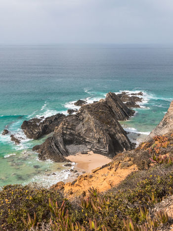 Nature Nature Photography Ocean View Portugal Rock Tranquility Travel Travel Photography Traveling Beach Beauty In Nature Cavaleiro Cliff Horizon Over Water Nature_collection Ocean Photography Sand Scenics Scenics - Nature Sky Tranquil Scene Travel Destinations Water Waves