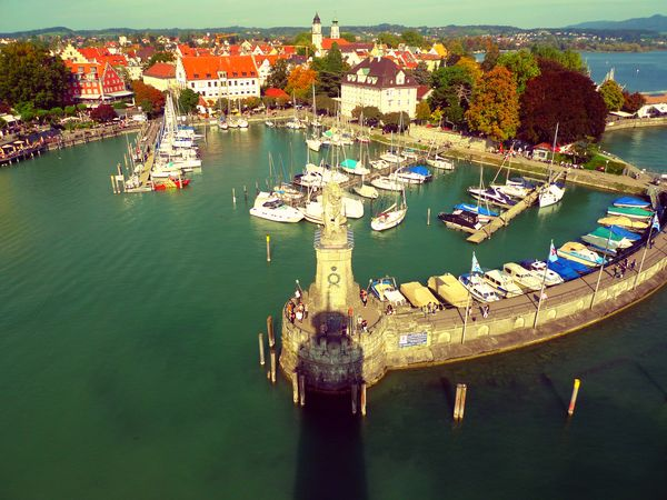 Harbour View Nautical Vessel Water Outdoors Day Lindau Bodensee Harbor City Of Lindau