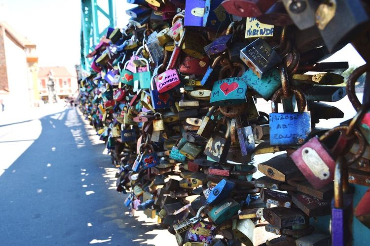 Love Padlock Large Group Of Objects Lock Railing Romance Close-up Metal Multi Colored Focus On Foreground Bridge Lovepadlocks