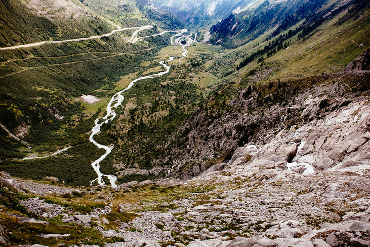 High angle view of winding road on mountains at furkapass