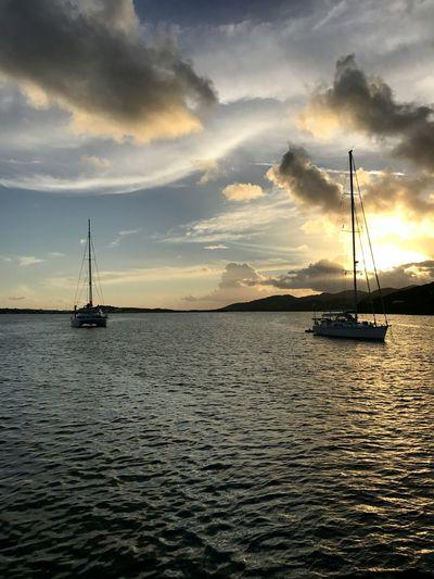 Caribbean Sea Water Sailboat Sunset Cloudscape Travel Sailing Horizon Water EyeEmNewHere Marina Cay Sun The Great Outdoors - 2017 EyeEm Awards