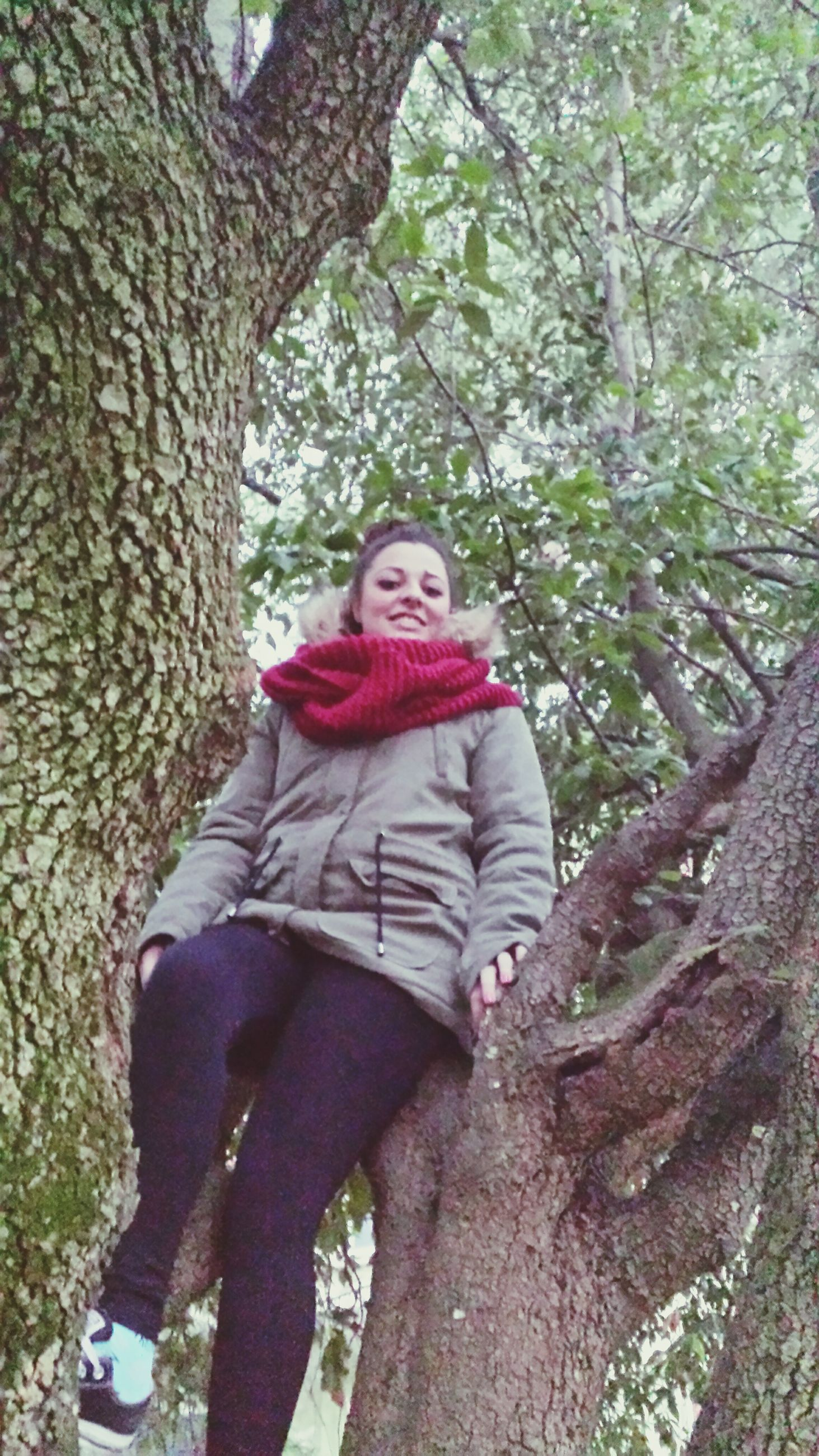 tree, looking at camera, lifestyles, casual clothing, person, portrait, tree trunk, leisure activity, branch, young adult, front view, full length, standing, three quarter length, smiling, young women, growth, day