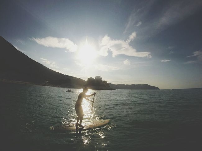 Sunset Silhouettes Evening Sea Life Sup