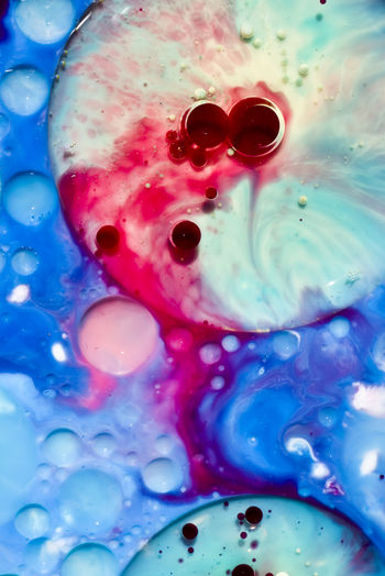Abstract Water Bubbles in Blue and Pink Abstract Backgrounds Blue Bubbles, Circle Close-up Day Eye Full Frame Liquid Multi Colored No People Sci-fi Spa Water