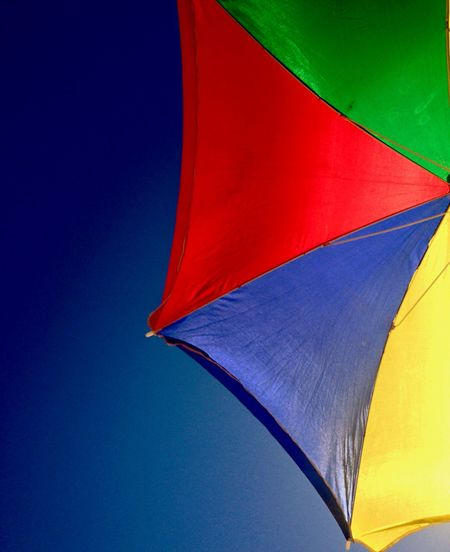 Umbrella Protection Multi Colored Red Security Blue No People Shade Beach Umbrella Low Angle View Day Sky Sunshade Outdoors