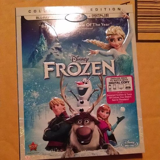 I came home from work with a package by my door. Ricky bought me the best Disney more movie ever!! Bestmovieever Bestboyfriendever Frozen Letitgo ilovesurprises disney