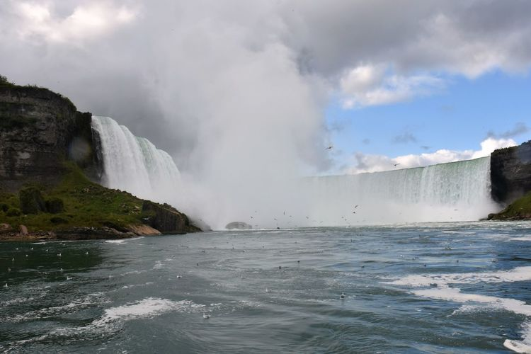Horseshoe Falls Low Angle View Niagara Falls NY Niagara Falls Power Beauty In Nature Clouds Motion Nature No People Power In Nature Sky Splashing Waterfall Lost In The Landscape