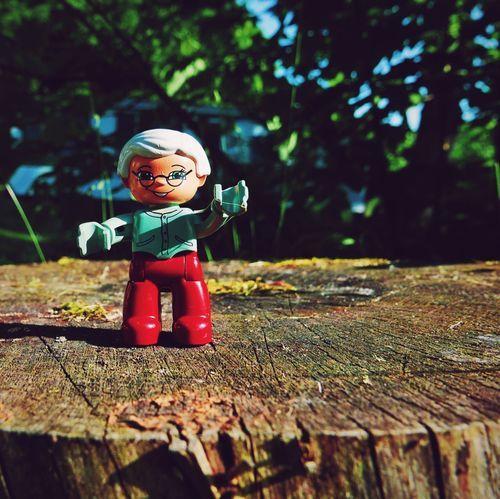 Grandma needs to come too!! (my 2yr old niece before going hiking). Sitting Outside Being Adventurous Camping Tree Trunk Miniature Toys Duplo Grandma Small_world Colorful