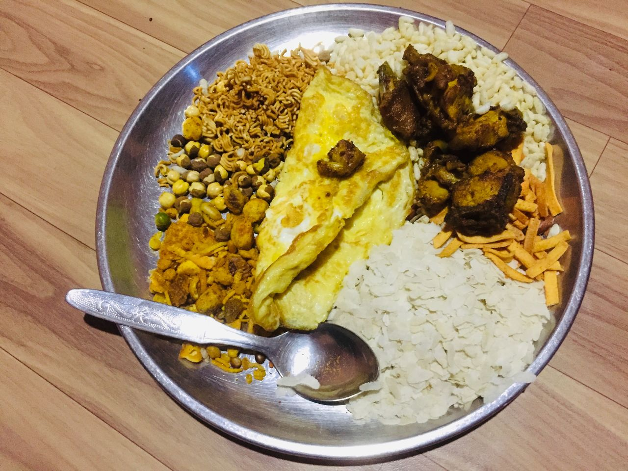 food, food and drink, ready-to-eat, table, freshness, indoors, kitchen utensil, healthy eating, high angle view, wellbeing, eating utensil, still life, spoon, wood - material, bowl, meal, no people, close-up, directly above, serving size, indian food, temptation, dinner, breakfast