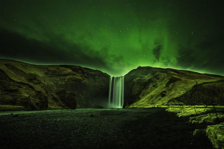 Aurora Borealis Aurora Borealis HUAWEI Photo Award: After Dark Astronomy Tree Galaxy Star - Space Mountain Sky Landscape Green Color