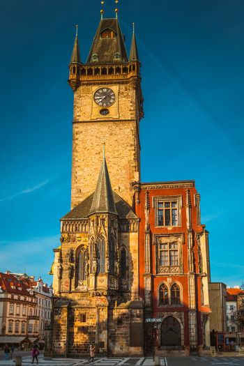 Architecture Astronomical Clock Bell Tower Blue Building Exterior Built Structure City Clock Clock Face Clock Tower Day History No People Outdoors Place Of Worship Prague Religion Sky Time Tourism Tower Travel Destinations