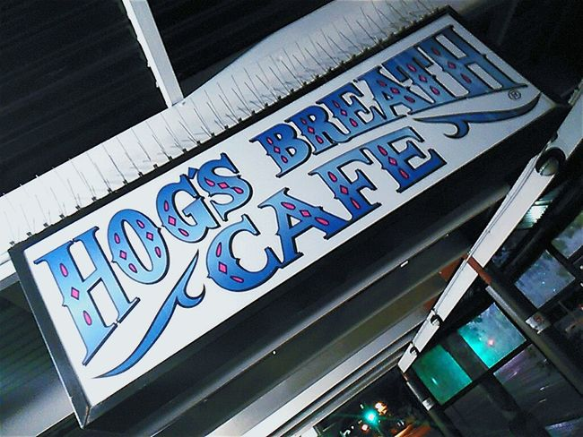 Sign Hog'spitality Hogs Breath Cafe' Signporn Taking Photos Streetphoto_color Signstalkers Streetphotography Taking Pictures Hogsbreathcafe