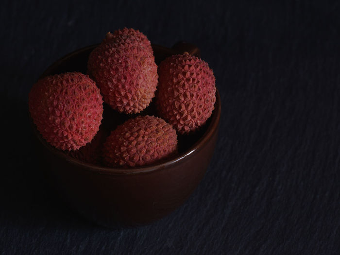 Bowl China Cup Dark Food Fresh Fruit Fruit Healthy Eating Litchi Litschi Lychee Lychees Red Ripe Tropical Fruits Vitamin C