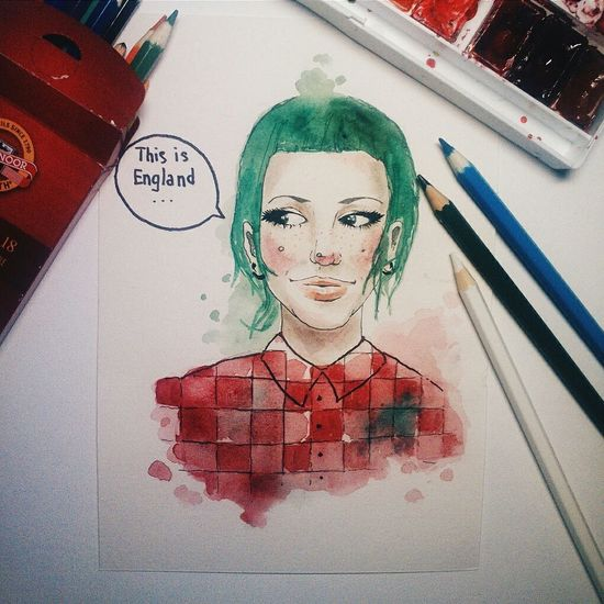 day 5 Art, Sketchart, Watercolor, Swag, Punk, Girl, Green_hair_girl, This_is_england, Illustrations