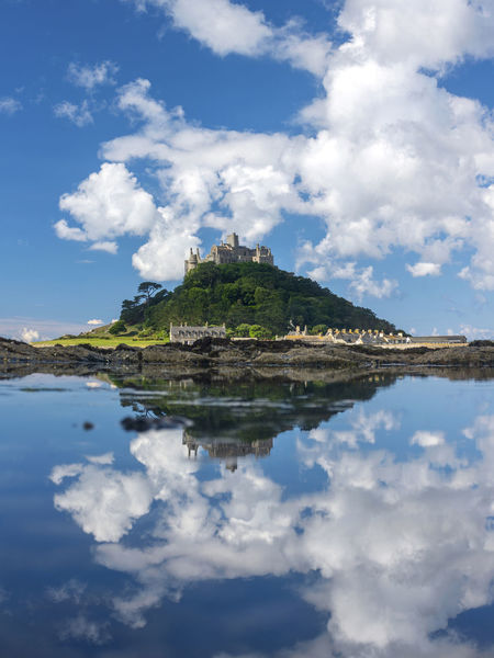 Beauty In Nature Blue Calm Cloud - Sky Cornwall Cumulus Cloud Nature No People Outdoors Reflection Scenics Sky St Michaels Mount Tranquil Scene Tranquility Water