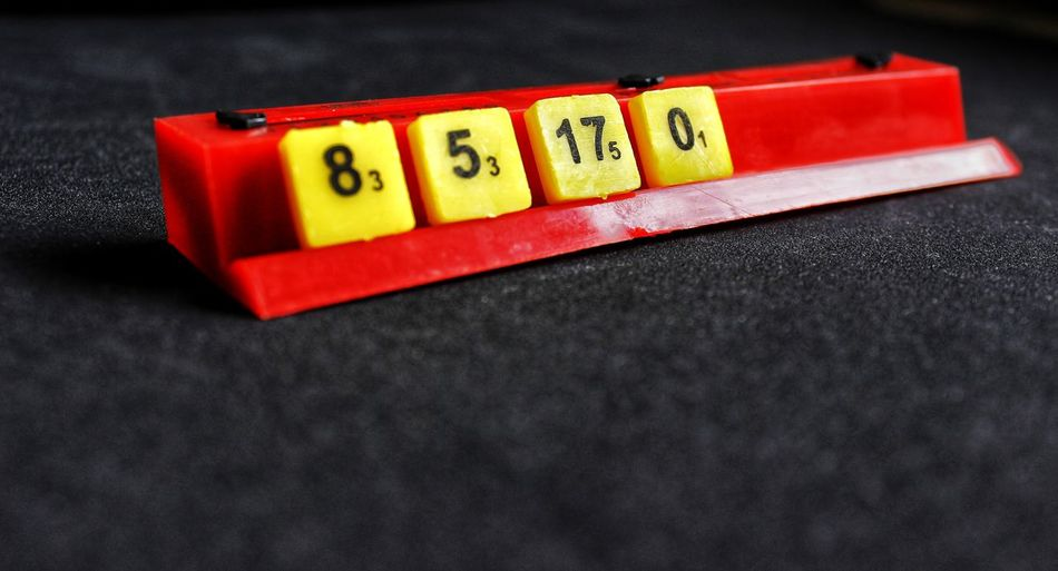 Number scrabble Scrabble Numbers Tiles Mind Games Yellow Color Math Equations Board Game Multi Colored Red Close-up Black Background Slate - Rock Block Shape Toy Block Cube Shape