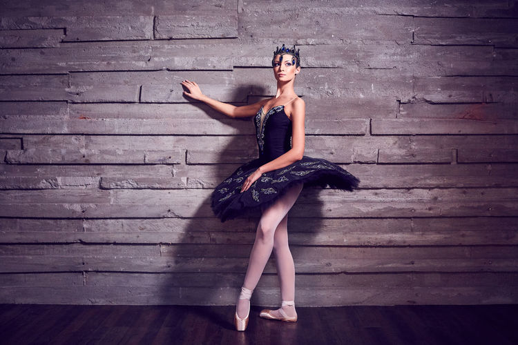 Ballerina in a beautiful costume Adult Ballet Beautiful Woman Beauty Clothing Dancing Dress Fashion Full Length Hairstyle Indoors  Looking At Camera One Person Portrait Real People Standing Wall - Building Feature Women Wood Young Adult Young Women