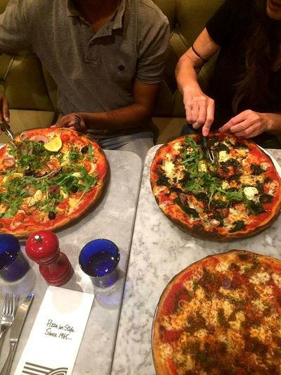pizza three restaurant london vegitarian glass people food eating night new 2016