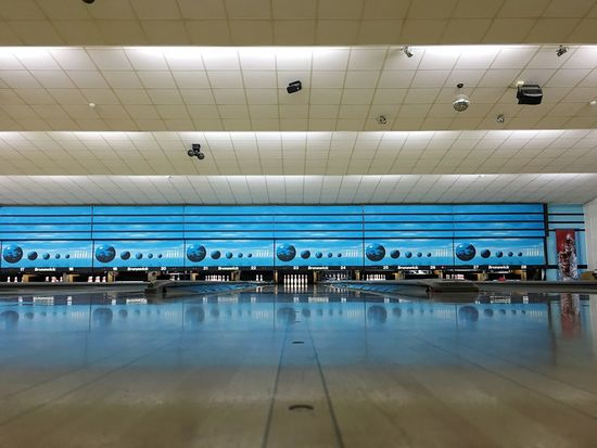 Indoors  Ceiling Architecture Built Structure Illuminated Bowling Alley