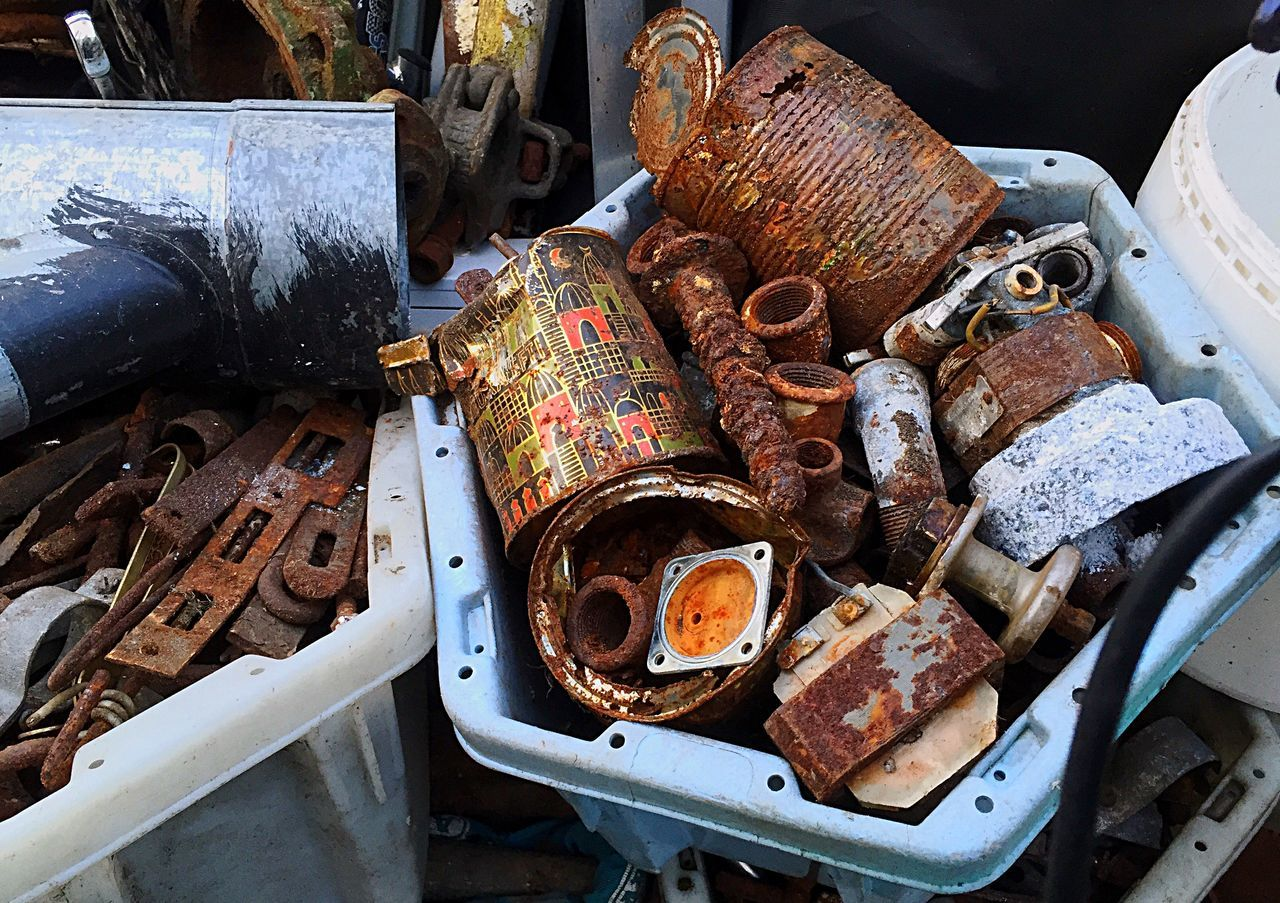 abandoned, damaged, rusty, metal, obsolete, large group of objects, no people, scrap metal, day, outdoors, close-up
