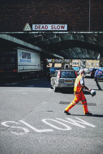 British Builder Cars Crossing Day Headwear Hi Vis Market Outdoors People Slow Street Streetphotography Dead Slow
