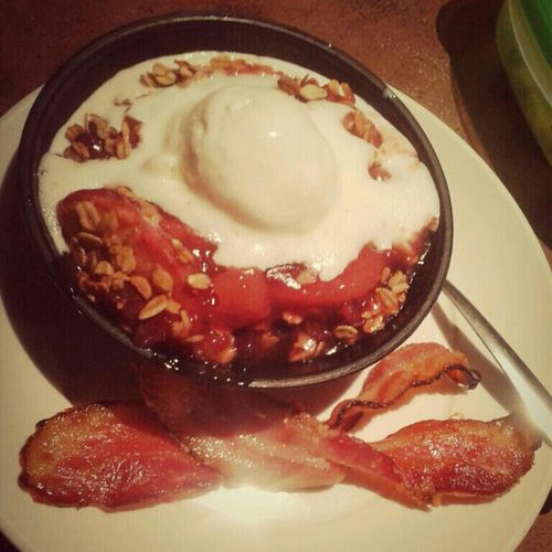 Yup. Apple Berry Crunch with Ice Cream. Hot Cold and BACON
