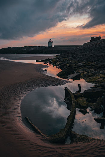 Reflection of cloudy sky in sea during sunset