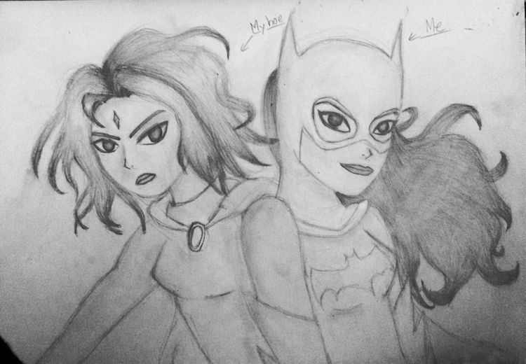 My hoe Rachel asked me to draw these two <3 Batgirl Raven Art Drawing