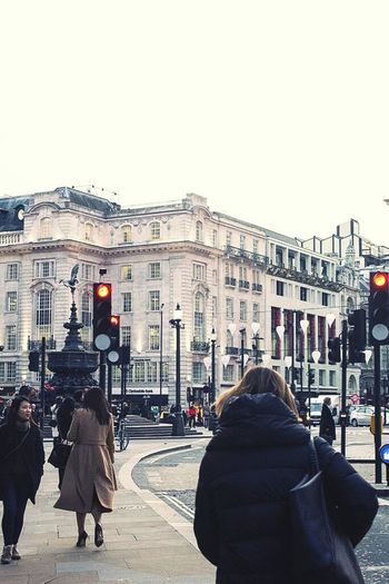 London Out And About Traffic Lights Back Of A Woman Piccadily Winter Winter_collection