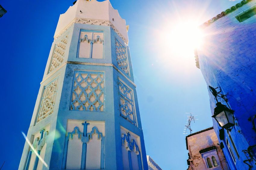 Beautiful City Morocco North Africa Road Sightseeing Travel View Vivid Africa Bell Tower Blue Building Chaouen Color Fancy Historical Outdoors Religion Sky Sun Town Traditional Vacation World