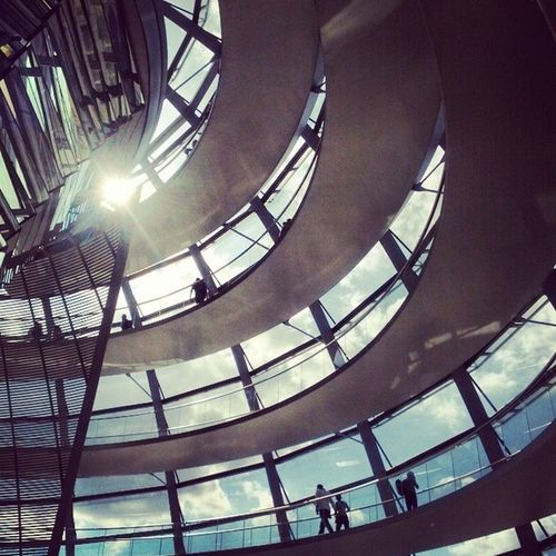 Inside the amazing NormanFoster - designed Reichstag in Berlin , Germany . architecture