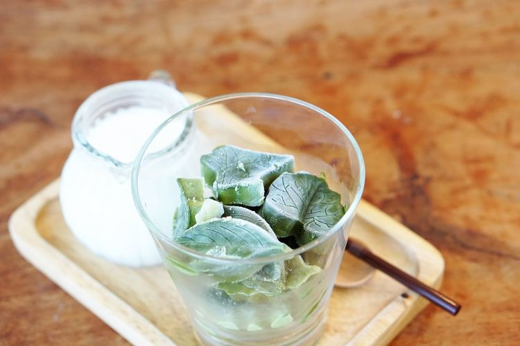 Matcha Cafe Latte Close-up Cold Temperature Drink Drinking Glass Focus On Foreground Food Food And Drink Freshness Glass Healthy Eating Ice Ice Cubes Indoors  Leaf Milk Mint Leaf - Culinary No People Refreshment Still Life Table Wood - Material