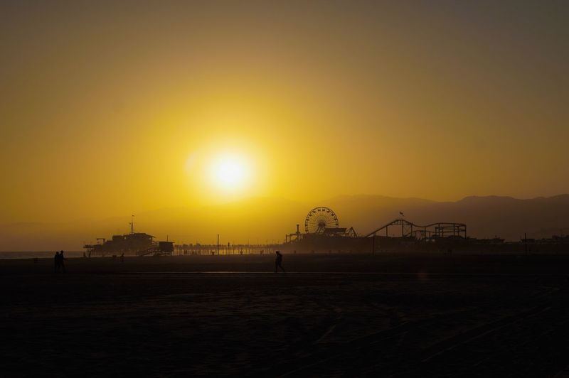Sunset Sky Sun Water Amusement Park Nature Silhouette Beach Sunlight