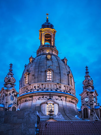 Blue Night in Dresden - Frauenkirche Building Exterior Architecture Built Structure Building Sky Low Angle View No People Blue Blue Night Blue Sky Place Of Worship Travel Destinations History Dome Spirituality Religion Frauenkirche Kuppel