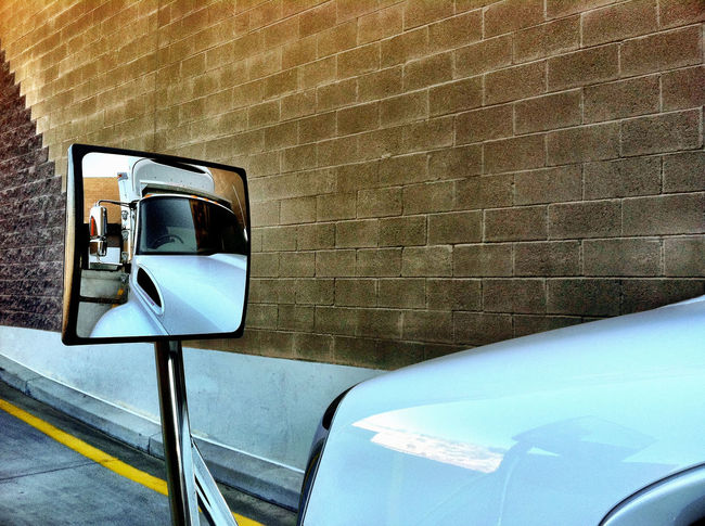 Reflection of commercial truck in its side view mirror Business Cargo Commercial Concept Delicious Delivery Delivery Truck Freight Industry Mode Of Transport Nobody Reflection Side View Mirror Transportation Truck Trucking