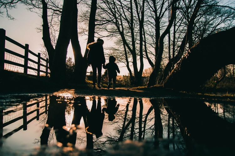 Sunset silhouettes Reflection Water Tree Nature Sky Lake Group Of People Silhouette Architecture Real People Plant Waterfront Built Structure Sunset Leisure Activity Outdoors Women People